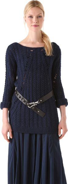 Donna Karan New York Long Sleeve Top in Blue (indigo)