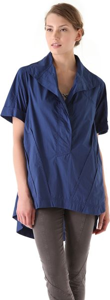 Donna Karan New York Roll Sleeve Oversized Tunic in Blue