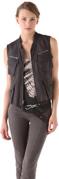 Donna Karan New York Zip Leather Vest in Black