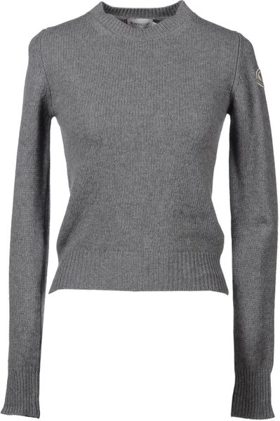Moncler Long Sleeve Sweater in Gray (beige) - Lyst