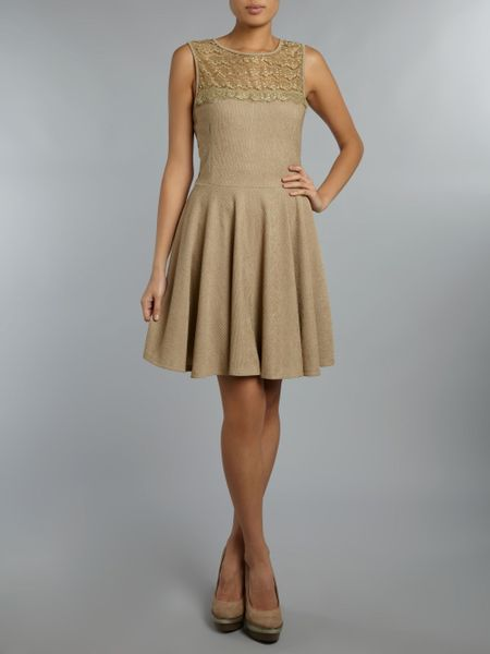 Pussycat Lace Textured Skater Dress In Beige Lyst