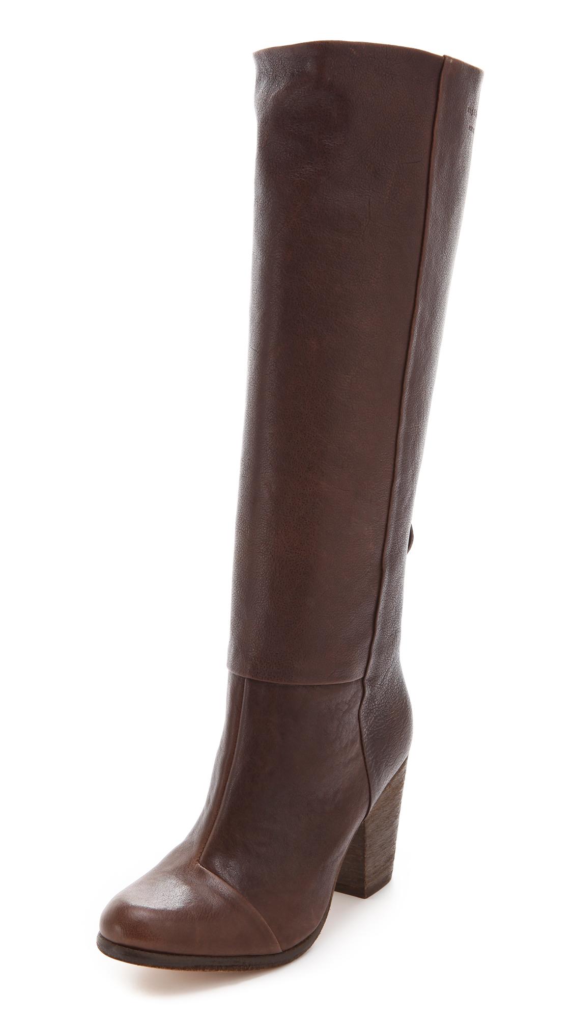 rag bone knee high newbury boots in brown brown