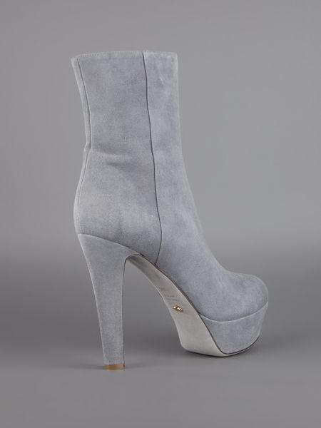 Sergio Rossi Suede Ankle Boot In Gray Grey Lyst