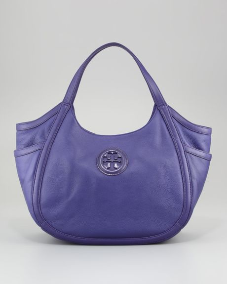Tory Burch Hannah Pocket Hobo Bag  in Purple (iris)