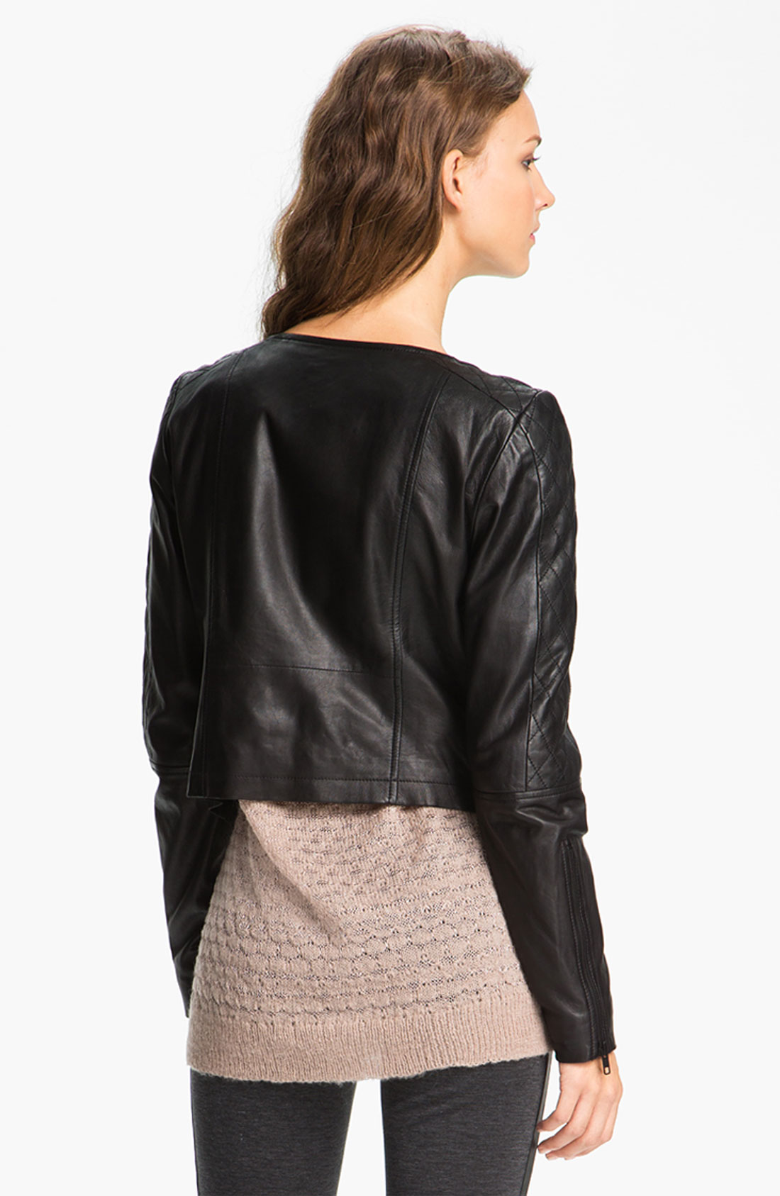 Trouv Black Quilted Panel Leather Moto Jacket Size Xs Ebay