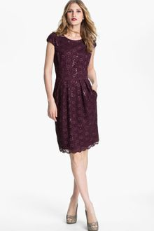 Sequin Dress on Alex Evenings Sequin Lace Overlay Sheath Dress In Gray  Champagne