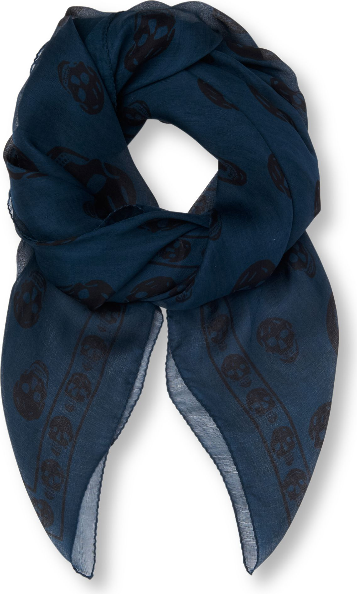 392ac5c8cd947 Navy Blue Alexander Mcqueen Scarf - Collections Blue Images
