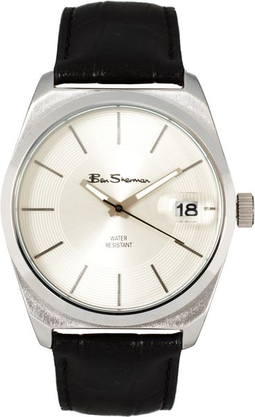 Ben Sherman White Dial Leather Strap Watch in Black for Men