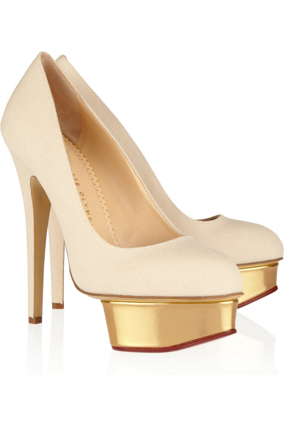 charlotte olympia the dolly canvas and leather platform pumps in beige sand lyst