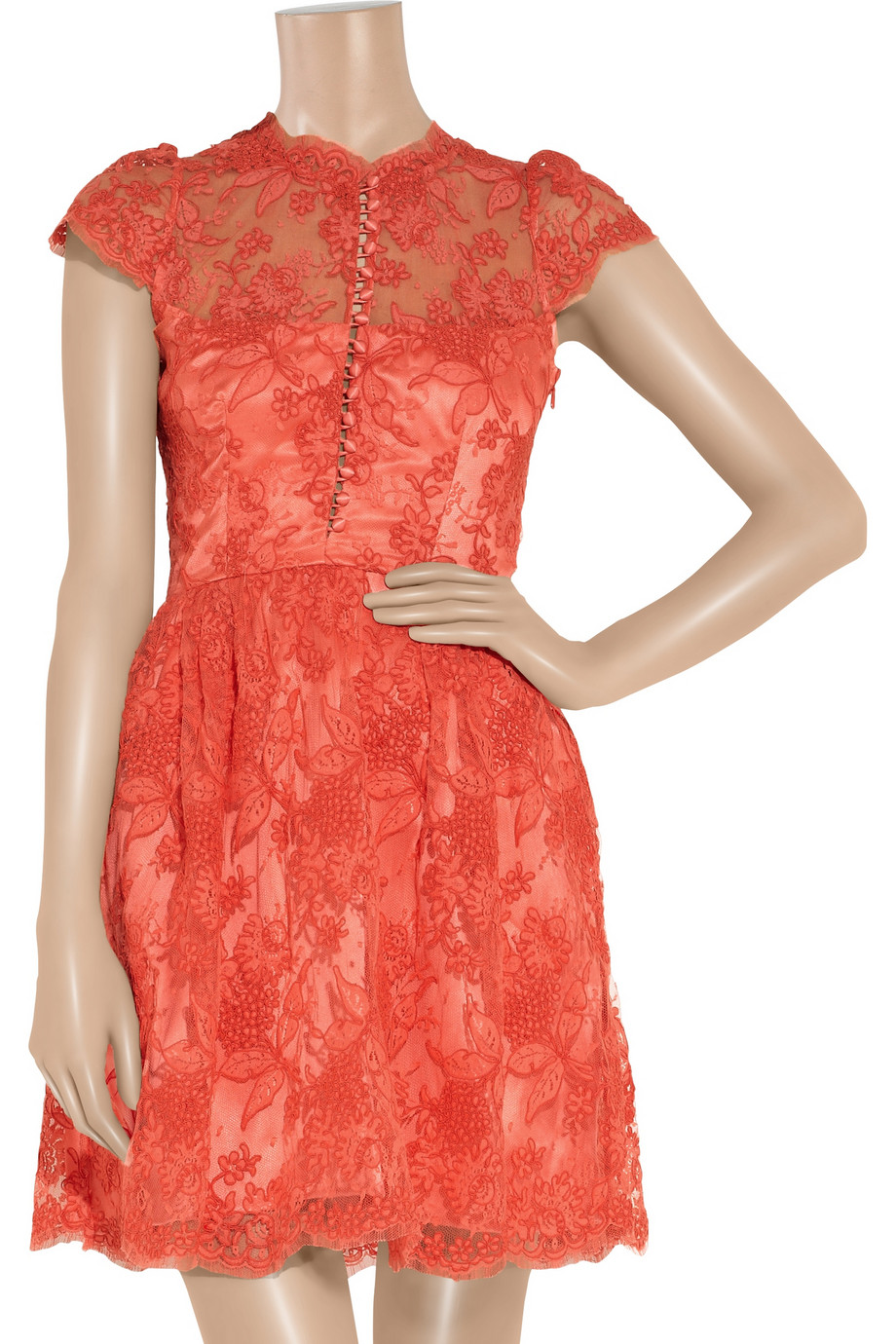Lyst Issa Silk Satin And Lace Dress In Pink