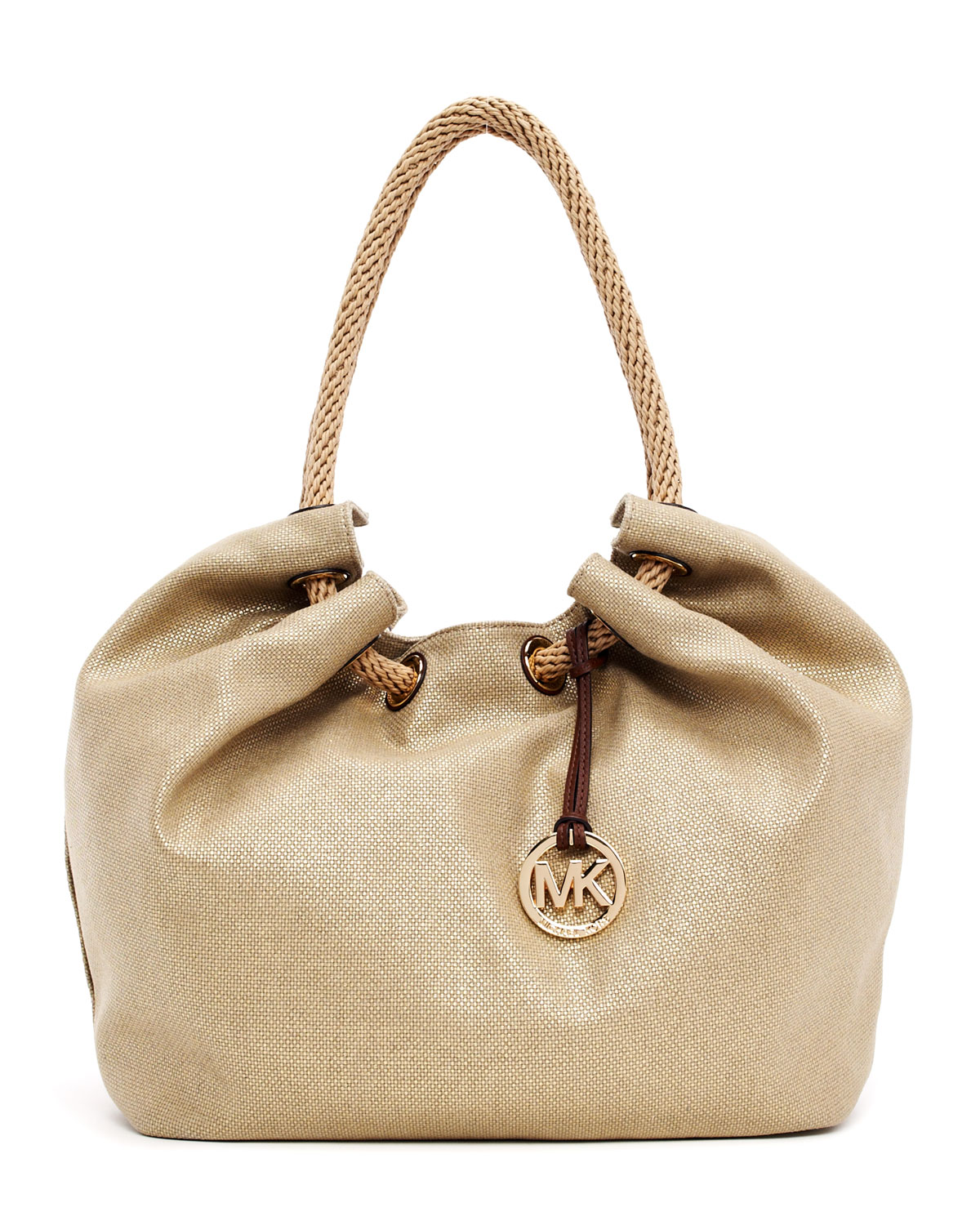 5309a13a7371ce Michael Kors Large Marina Metallic Canvas Shoulder Tote in Natural ...