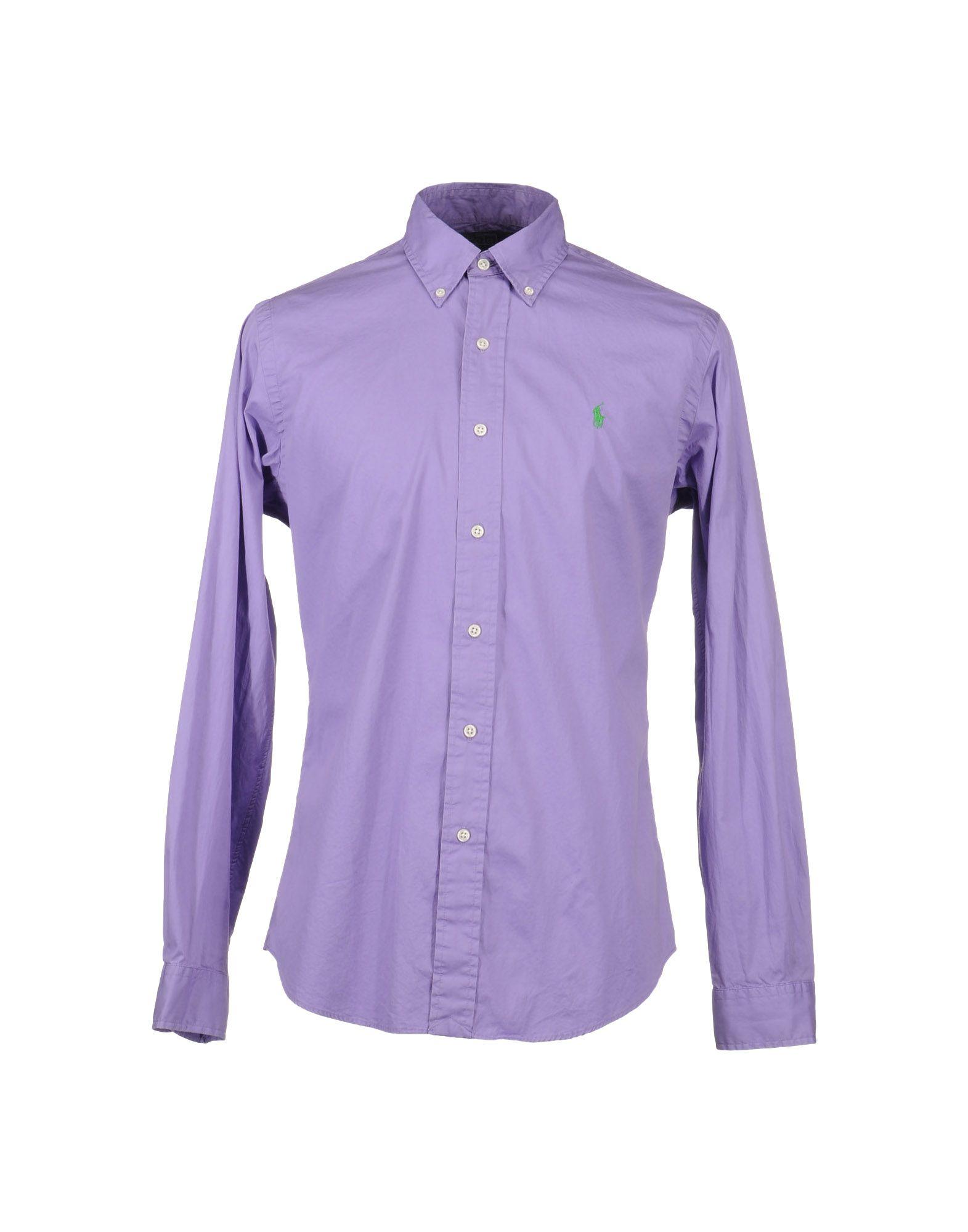 Polo ralph lauren long sleeve shirt in purple for men for Long sleeve purple polo shirt