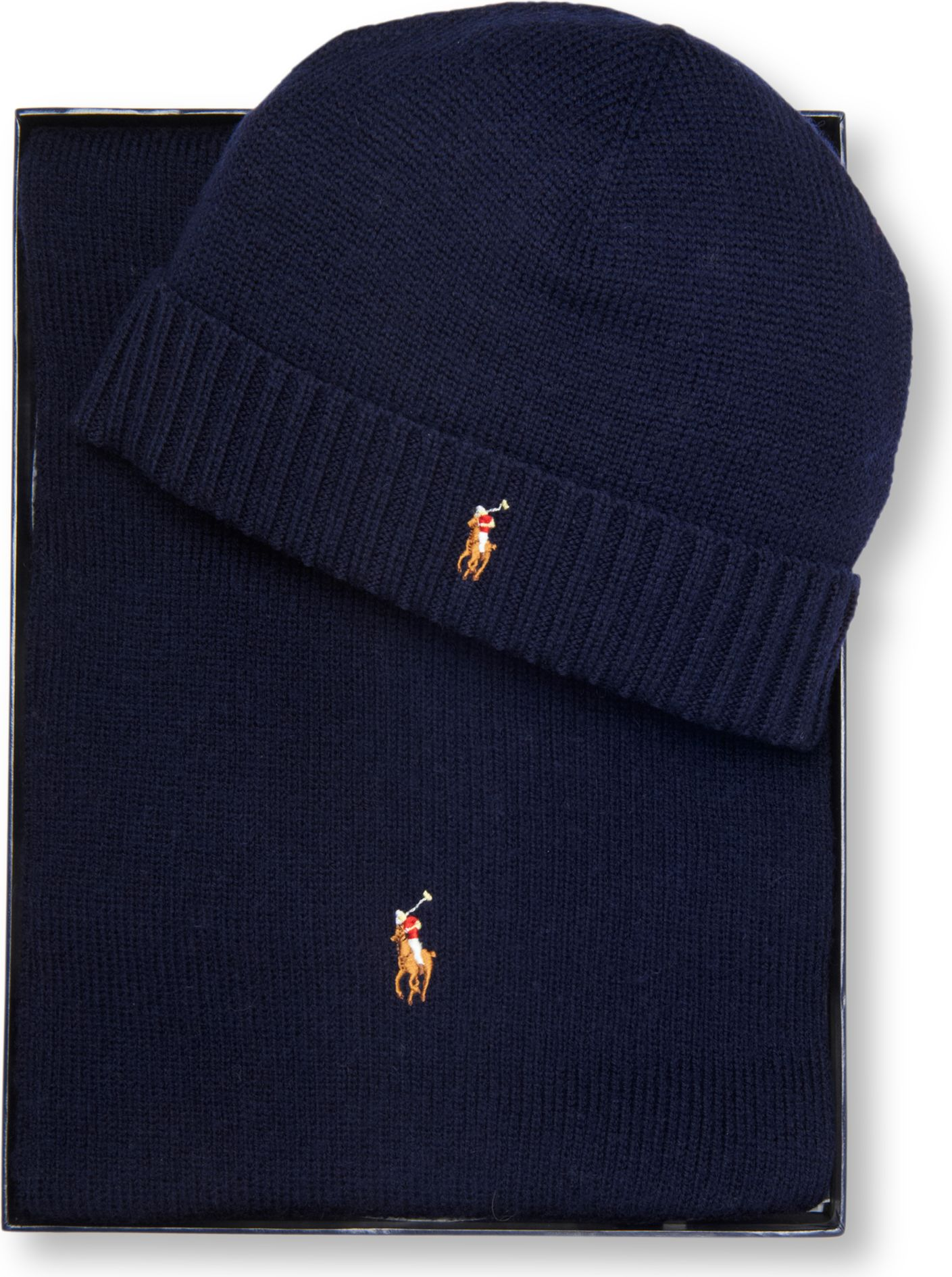 Ralph Lauren Pony Player Beanie Hat And Scarf Set In Blue