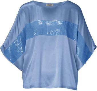 Steffen Schraut Summer Sky Silksatin Sequined Martha Top - Lyst