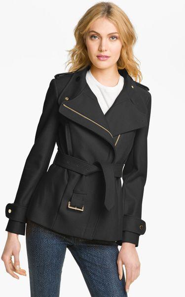 Ted Baker Funnel Neck Wool Blend Jacket in Black