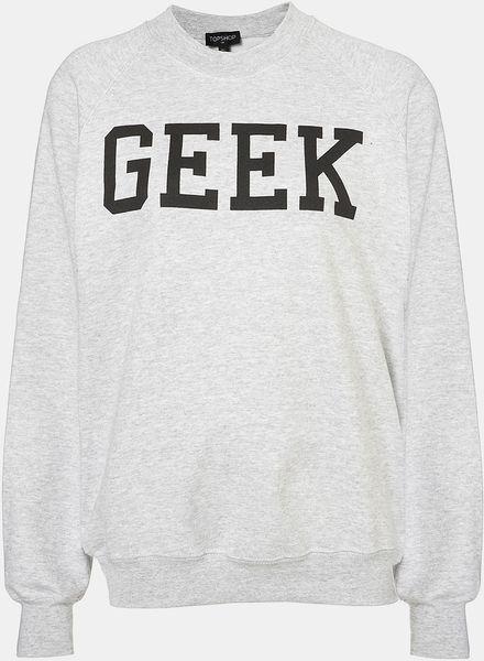 Topshop Geek Sweatshirt in Gray (light grey)