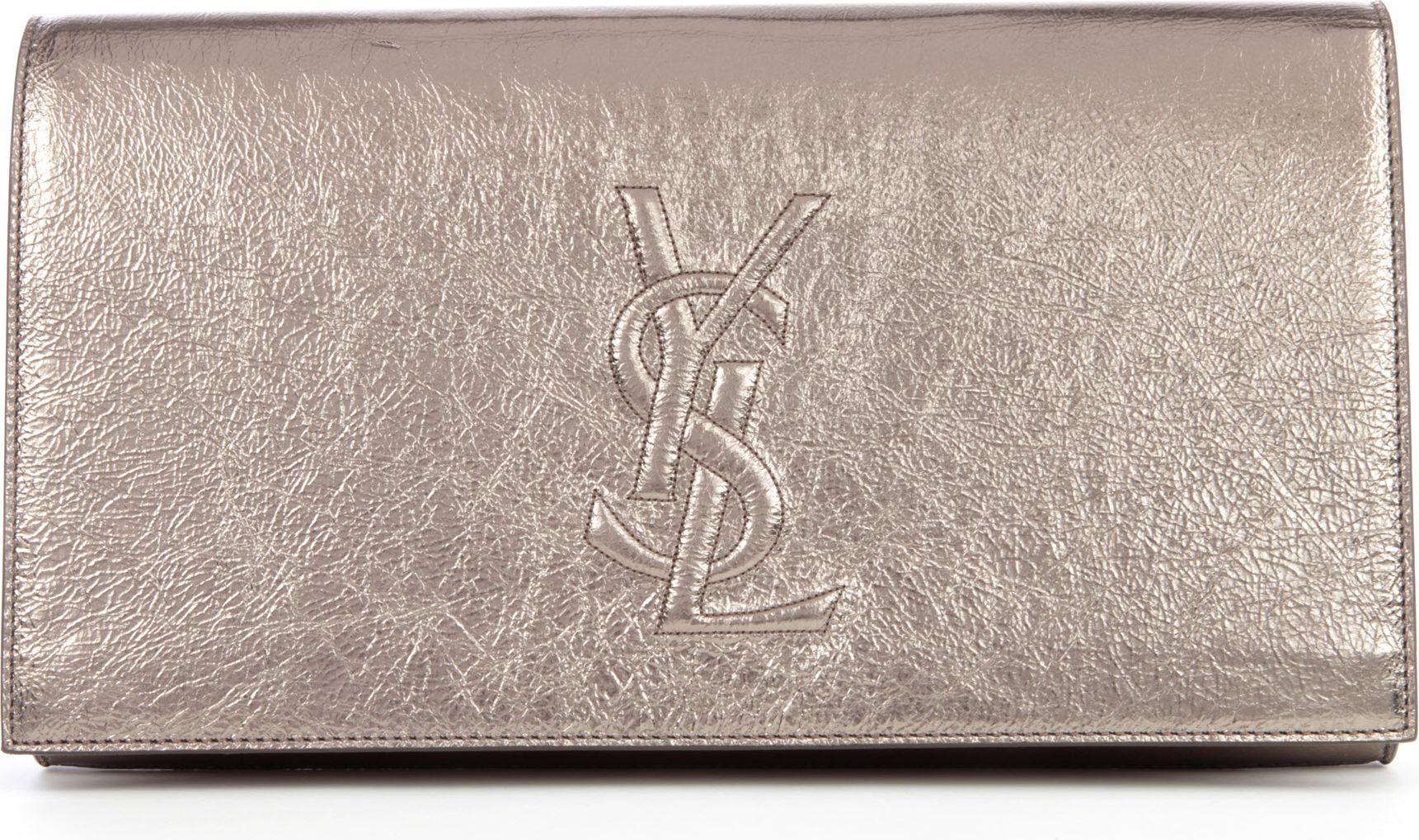 dc2a777c31c7 Saint Laurent Belle De Jour Metallic Leather Clutch in Metallic - Lyst