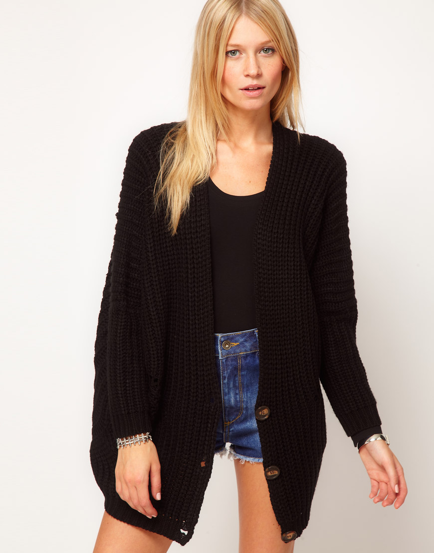 Asos collection Asos Oversized Cardigan in Chunky Rib in Black   Lyst