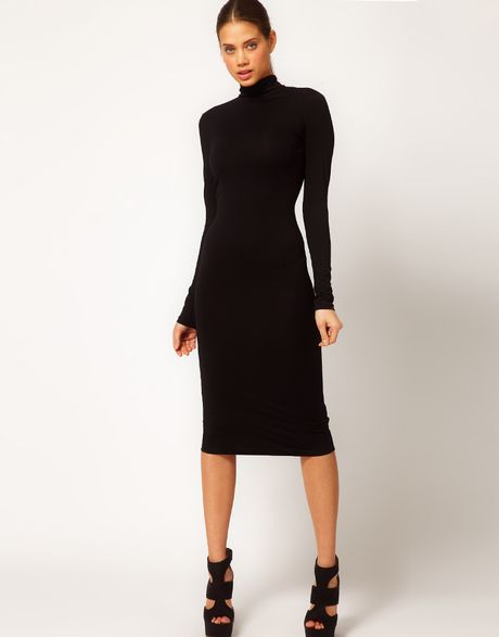 Asos Asos Midi Dress With Polo Neck In Black Lyst