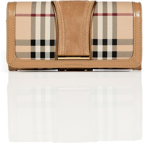 Burberry Trench Haymarket Check Metallic Detail Continental Penrose Wallet in Beige