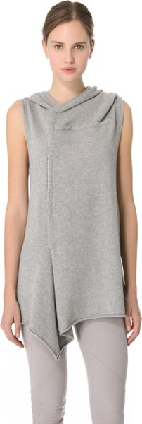 Donna Karan New York Sleeveless Hooded Tunic in Gray