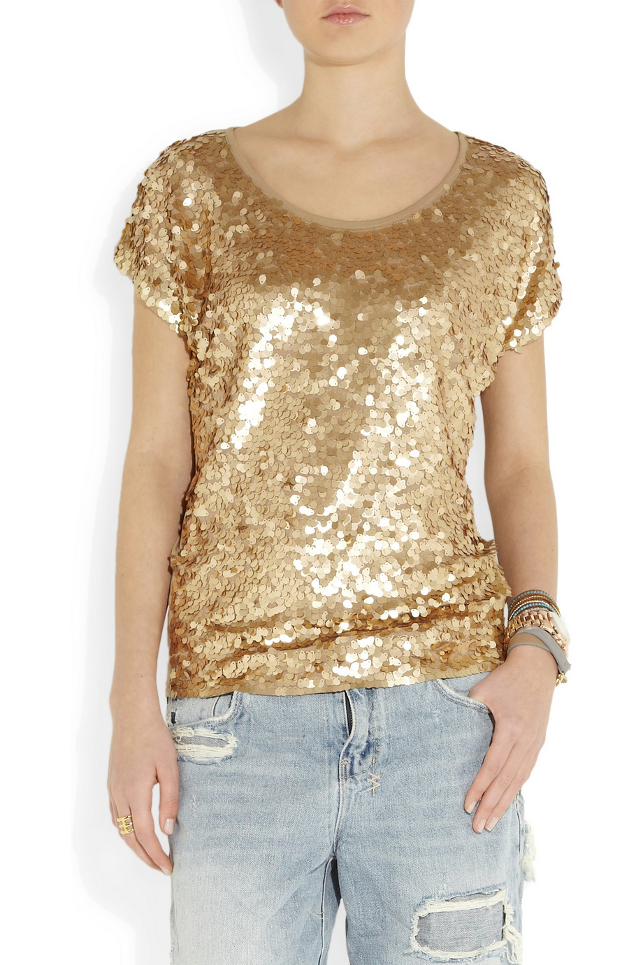 Michael Michael Kors Camouflage Pattern Sequined Top In