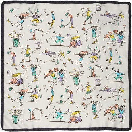 Prada Square Scarf in White for Men