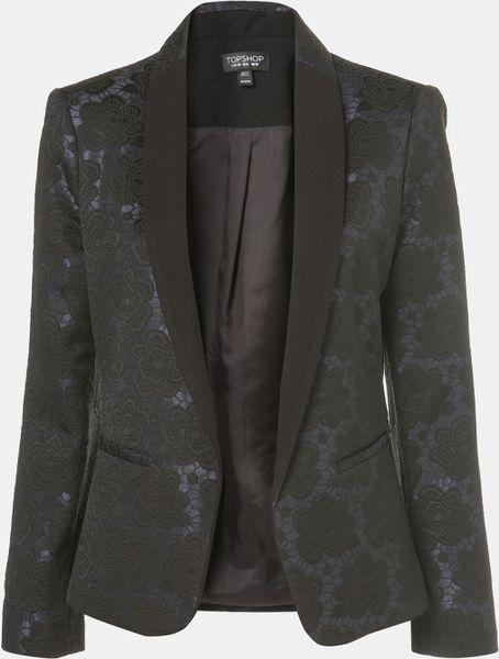 Topshop Floral Jacquard Tux Blazer in Blue (navy blue/ black) - Lyst