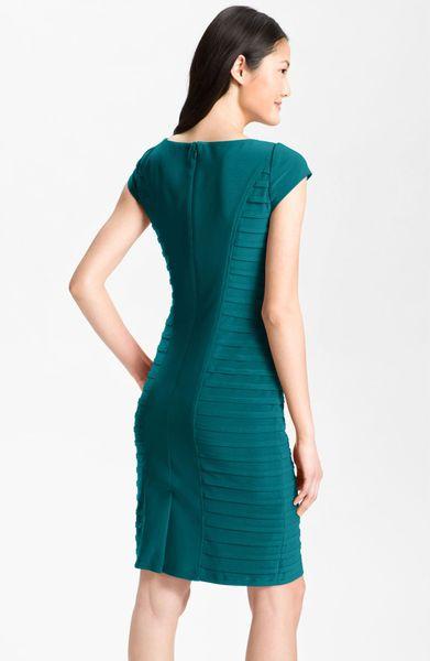 Adrianna Papell Pleat Panel Jersey Sheath Dress In Blue