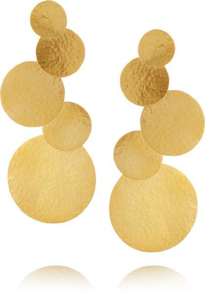 Herve Van Der Straeten Goldplated Disc Clip Earrings in Gold
