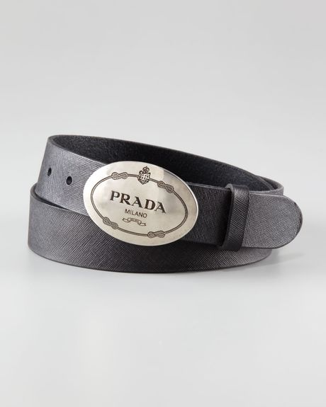 Prada Printedbuckle Saffiano Leather Belt In Black For Men