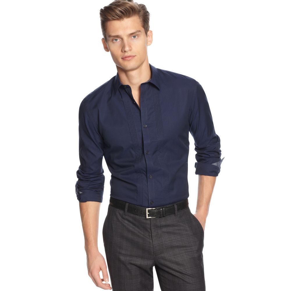 calvin klein slim fit micro dobby shirt in blue for men lyst