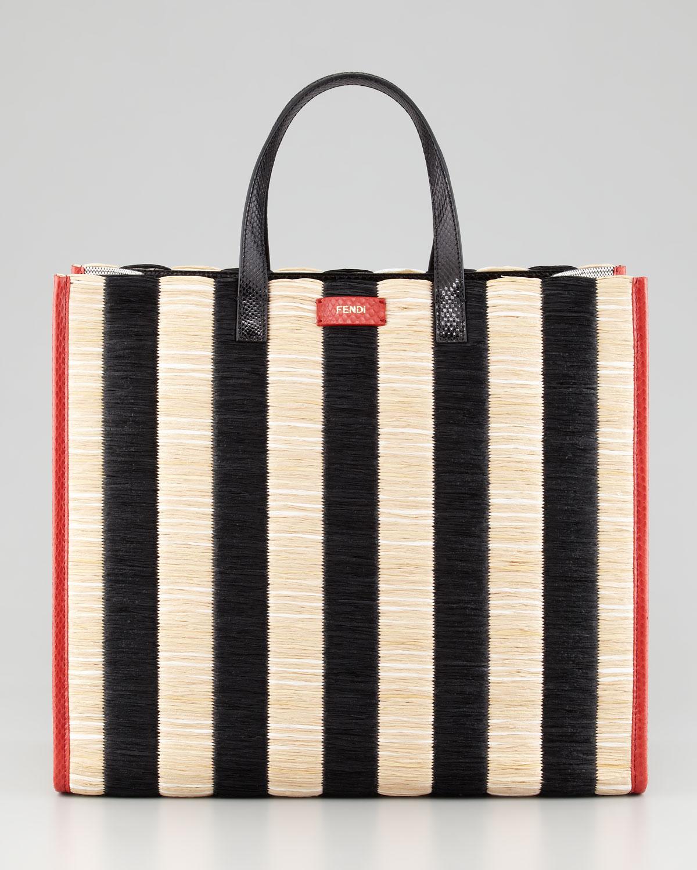 e48b438d0e95 ... 50% off lyst fendi pequin striped raffia snake tote bag in black 28c1d  0418c