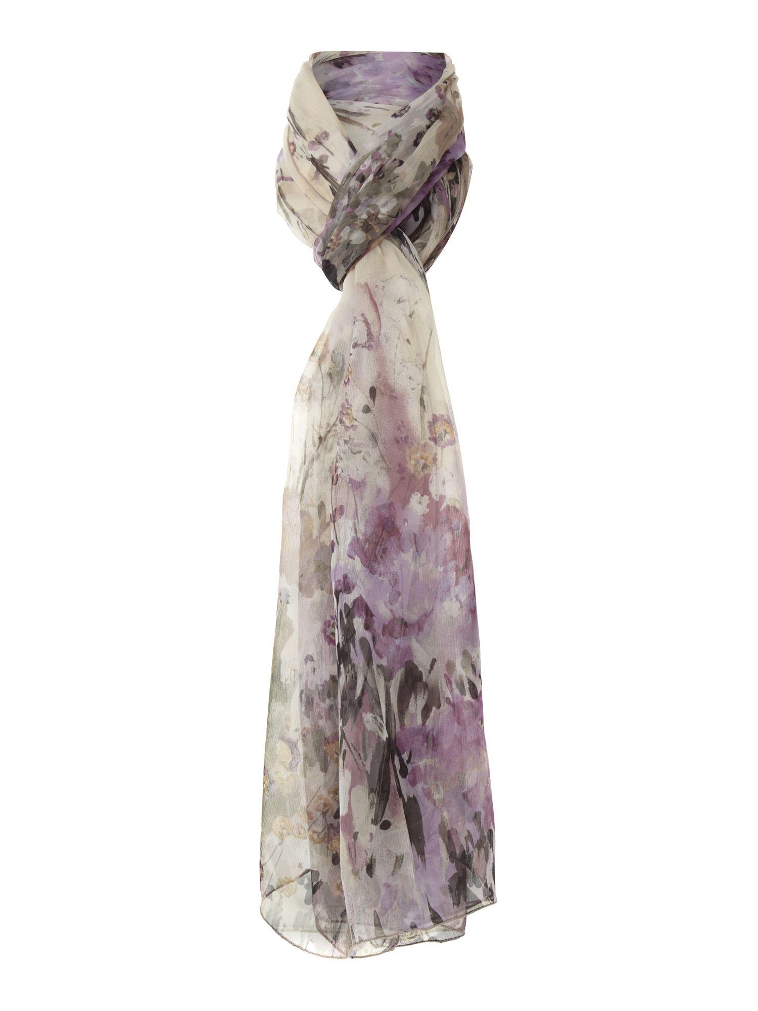fraas japanese floral silk georgette scarf in purple lyst