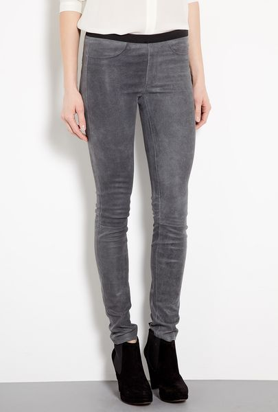 Helmut Lang Blade Grey Patina Stretch Leather Leggings in Gray (grey)