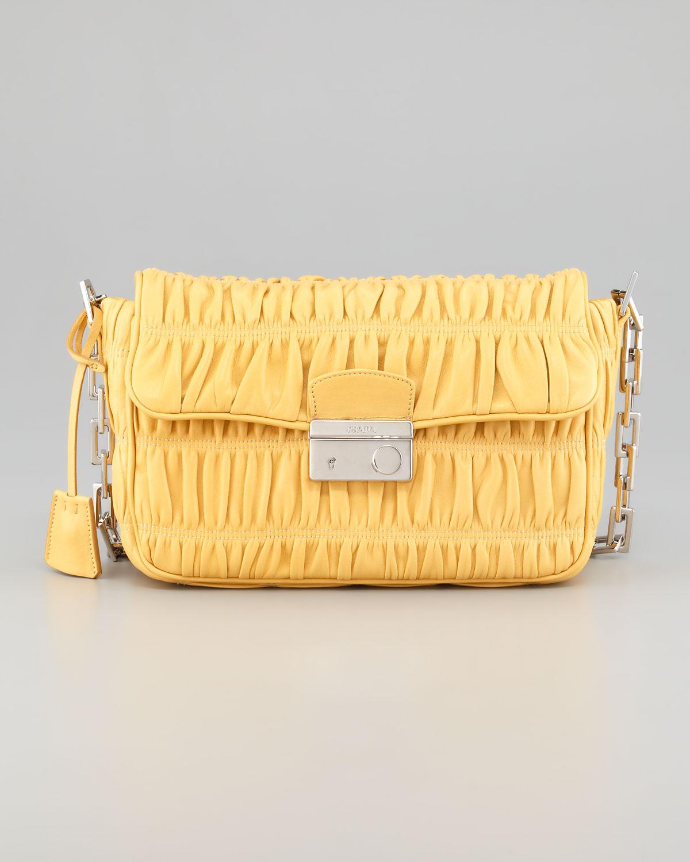 Prada Napa Gaufre Chain Shoulder Bag in Yellow | Lyst