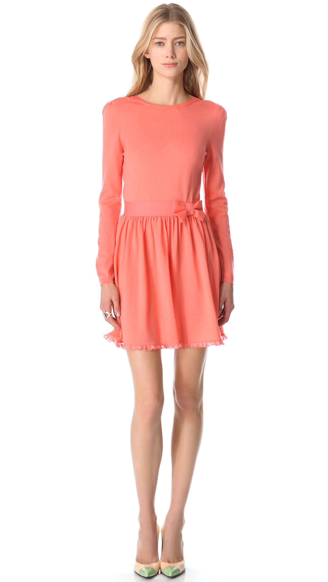 valentino sleeve bow belt dress in pink coral