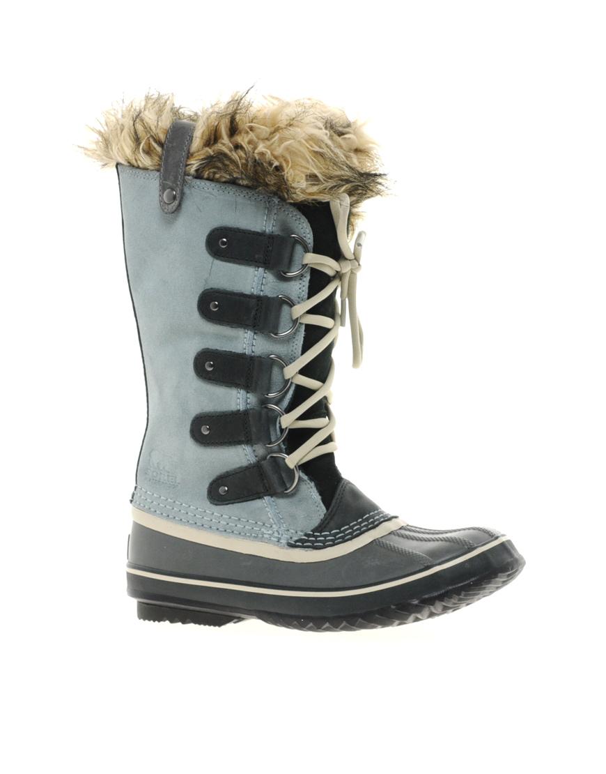 sorel joan of arctic grey faux fur cuff boots in blue. Black Bedroom Furniture Sets. Home Design Ideas
