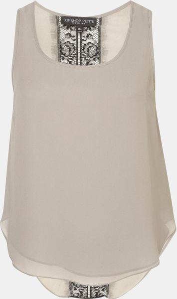 Topshop Lace Back Tank Petite in Beige (khaki)