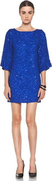 Alice + Olivia Lari Bell Sleeve Sequin Tunic Dress in Cobalt in Blue (cobalt)