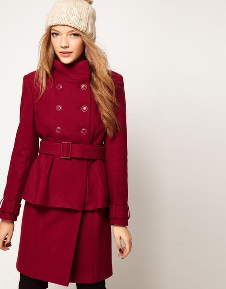 Asos Collection Asos Peplum Coat with Belt in Red (pink)
