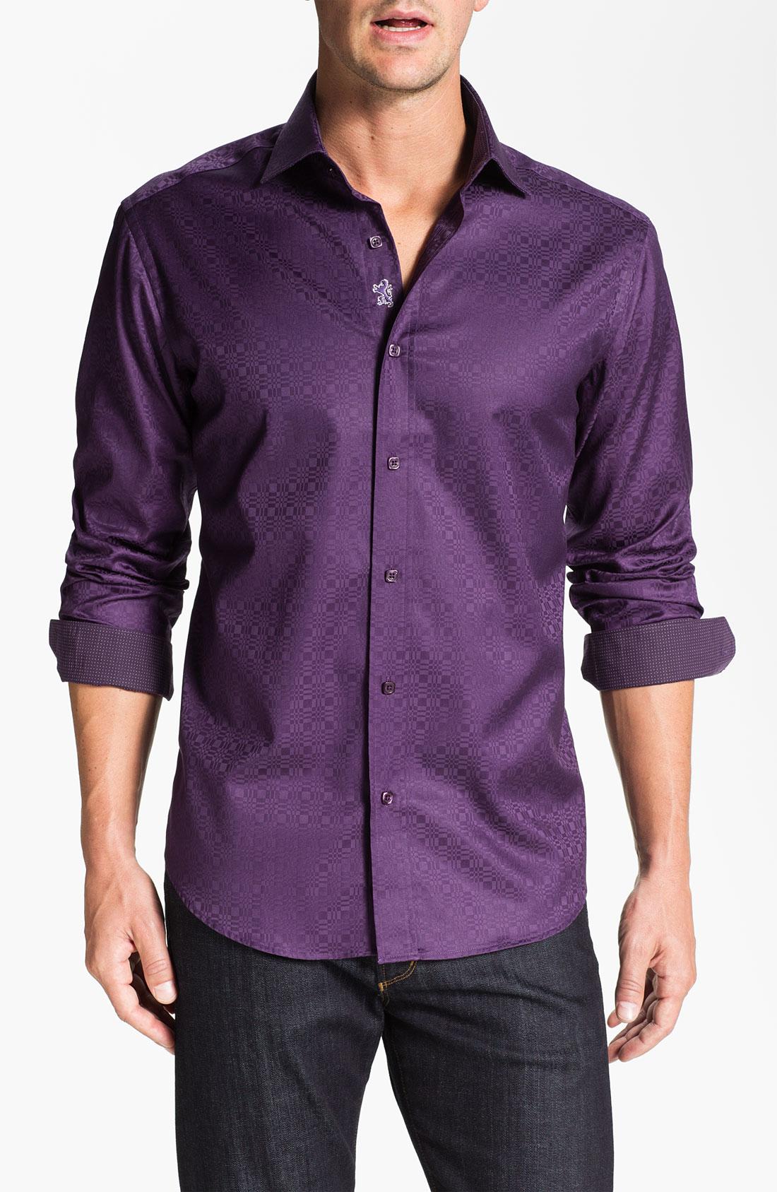 Bugatchi Uomo Shaped Fit Sport Shirt In Purple For Men