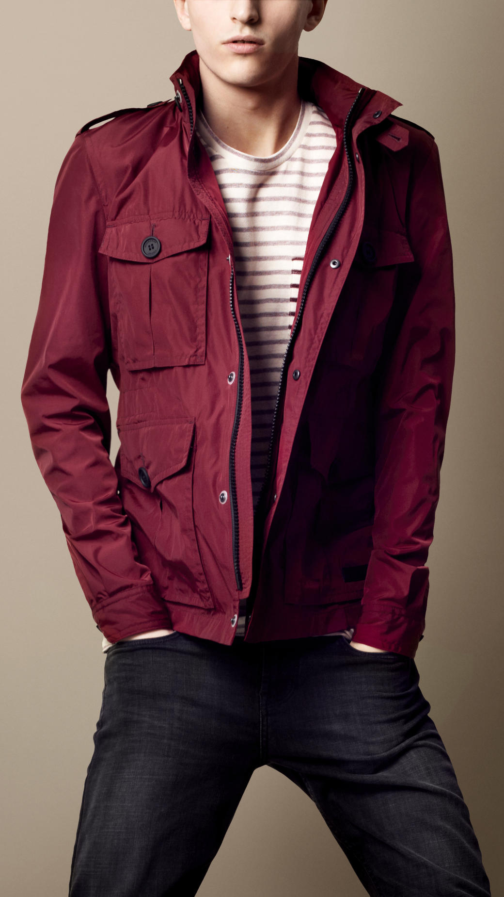 Burberry Brit Heritage Field Jacket In Red For Men Lyst