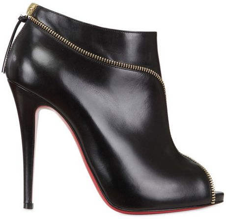 Christian Louboutin 120mm Col Zipped Calf Open Toe Low Boots in Black