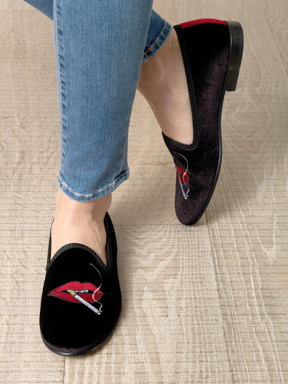 Del Toro Velvet Embroidered Loafers authentic sale online GFzDqw