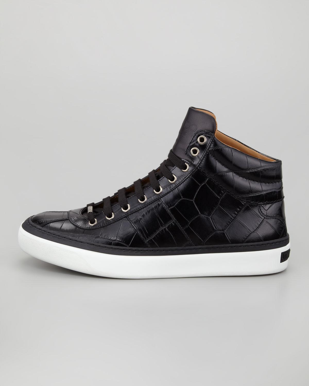 Jimmy Choo Belgravia Crocstamped Hitop Mens Sneaker Black