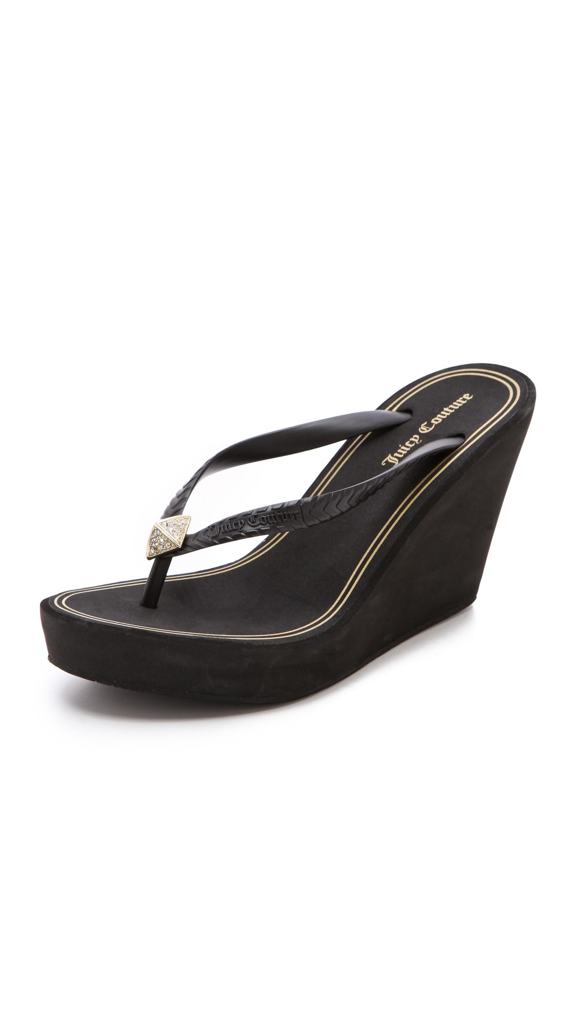 juicy couture britt wedge flip flops in black lyst
