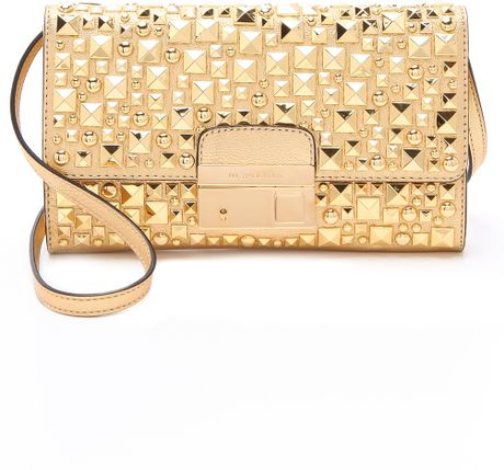 Michael Kors Metallic Studded Lock Clutch in Gold
