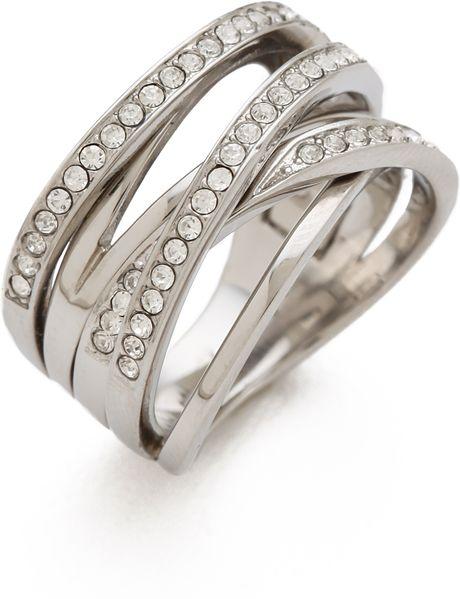 michael kors pav 233 stack ring in silver lyst