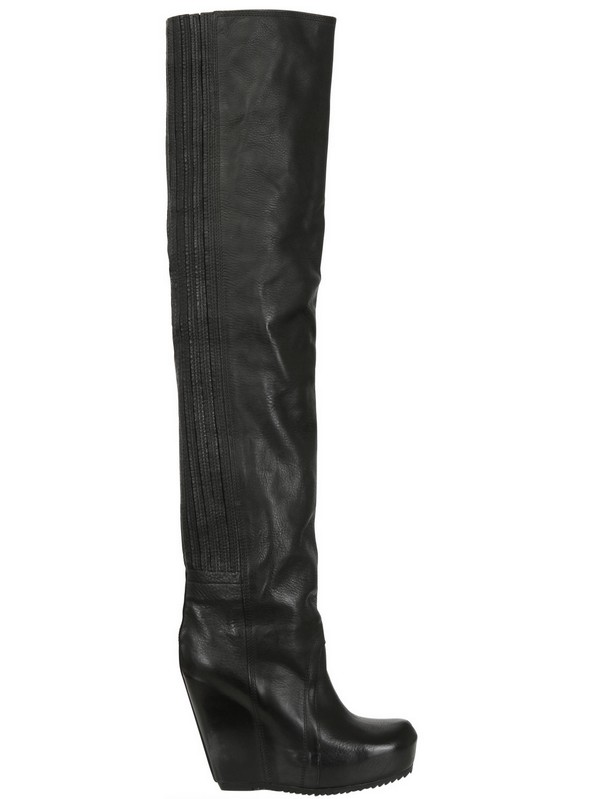 rick owens 120mm suede thigh high wedged boots in black lyst